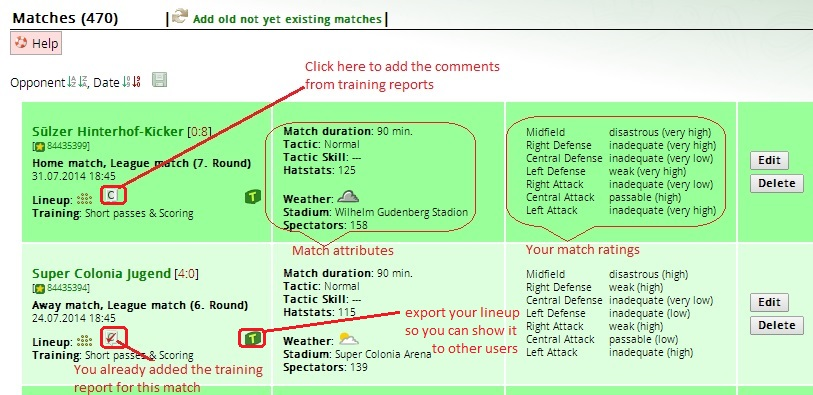Matches page